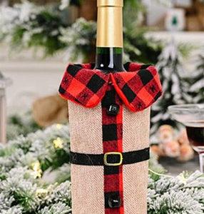チェック柄ワインボトルカバー クリスマスグッズ